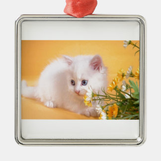 Cute White Kitten Plays With Flowers Metal Ornament