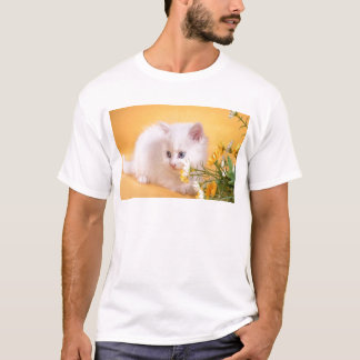 Cute White Kitten Plays With Flowers T-Shirt