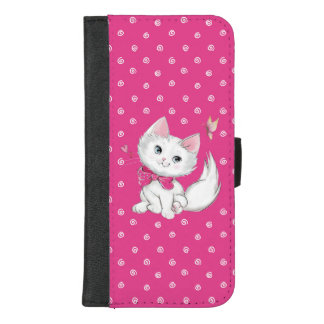 Cute White Kitten with Butterfly on Pink iPhone 8/7 Plus Wallet Case