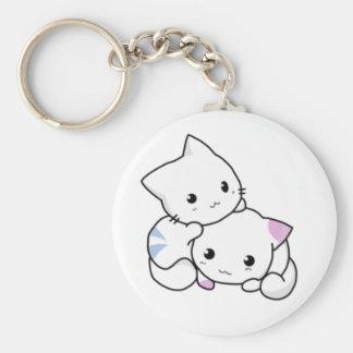 Cute White Kittens Hugging Keychain
