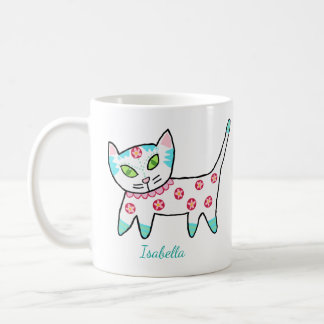 Cute White Kitty And Name Coffee Mug