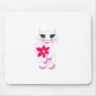 Cute White Kitty Cat with Flower Products Mouse Pad