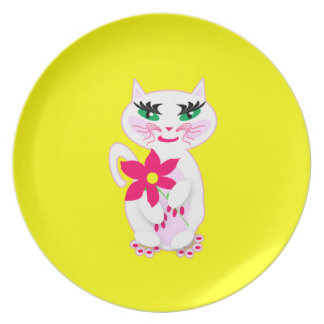 Cute White Kitty Cat with Flower Products Party Plates