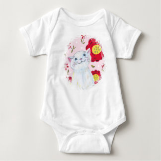 Cute white kitty shirt for baby