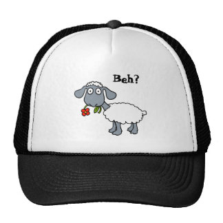 Cute White Lamb Sheep with Red Flower Funny Trucker Hats
