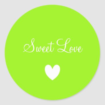 Professional Business Cute White Love Heart Green Personalized Classic Round Sticker