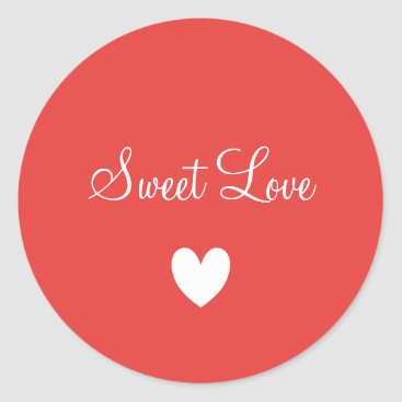 Professional Business Cute White Love Heart Peachy Personalized Classic Round Sticker
