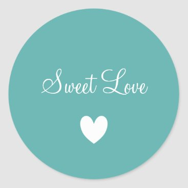 Professional Business Cute White Love Heart Teal Blue Personalized Classic Round Sticker