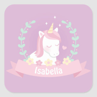 Cute White Magical Unicorn Flowers Girls Stickers