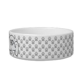 Cute White Maltese Dog With Custom Pet's Name Bowl