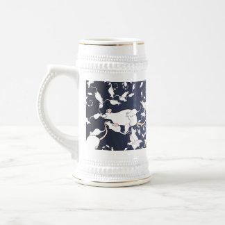 Cute White Mice. In Deep Space. Custom 18 Oz Beer Stein