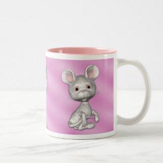 Cute White Mice Two-Tone Coffee Mug