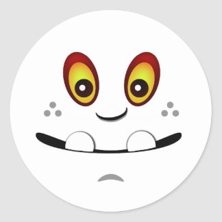 Cute White Monster Face w/ an Underbite Classic Round Sticker