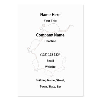 Cute White Mouse Design. Spiral of Mice. Large Business Cards (Pack Of 100)