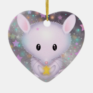 Cute White Mouse holding Star Ceramic Ornament