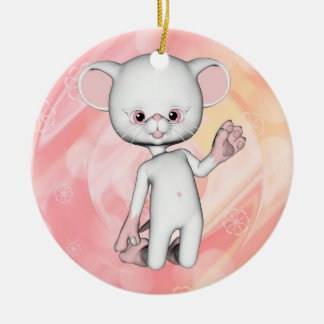 Cute White Mouse Ornament