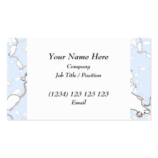 Cute White Mouse Pattern. Mice on Blue. Business Card