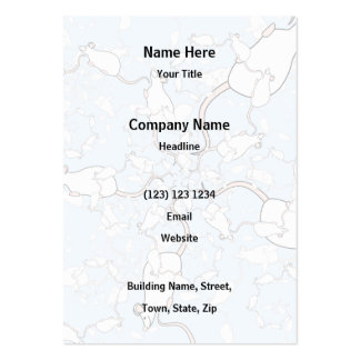 Cute White Mouse Pattern. Mice on Blue. Large Business Cards (Pack Of 100)