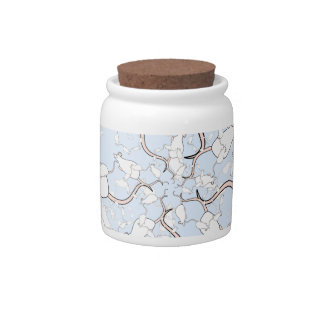 Cute White Mouse Pattern. Mice on Blue. Candy Jar