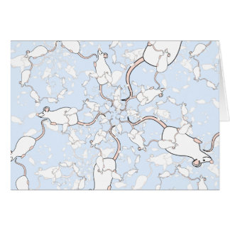 Cute White Mouse Pattern. Mice on Blue. Card