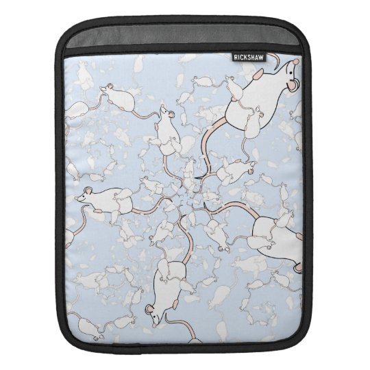 Cute White Mouse Pattern. Mice on Blue. iPad Sleeve