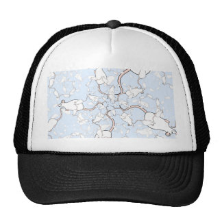 Cute White Mouse Pattern. Mice on Blue. Trucker Hat