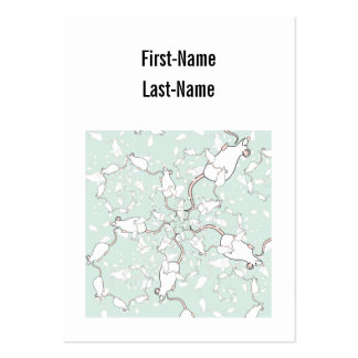 Cute White Mouse Pattern. Mice, on Green. Large Business Cards (Pack Of 100)