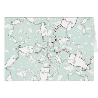 Cute White Mouse Pattern. Mice, on Green. Cards