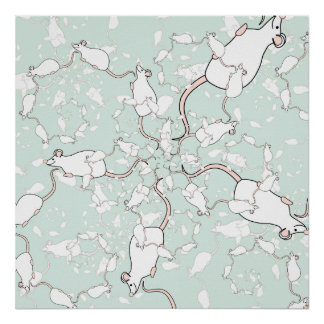 Cute White Mouse Pattern Mice on Green Posters