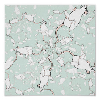 Cute White Mouse Pattern Mice on Green Poster