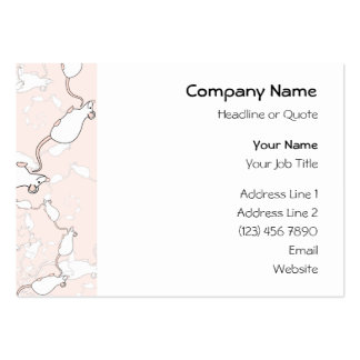Cute White Mouse Pattern. Mice on Pink. Large Business Cards (Pack Of 100)