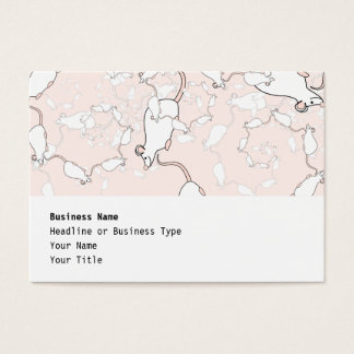 Cute White Mouse Pattern. Mice on Pink. Business Card