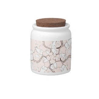 Cute White Mouse Pattern. Mice on Pink. Candy Jars