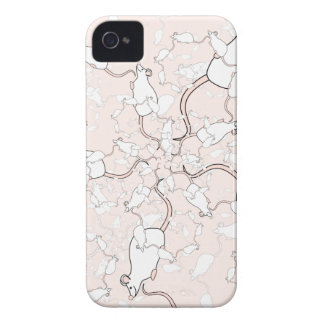 Cute White Mouse Pattern Mice on Pink Case-Mate iPhone 4 Case
