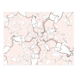 Cute White Mouse Pattern. Mice on Pink. Postcard
