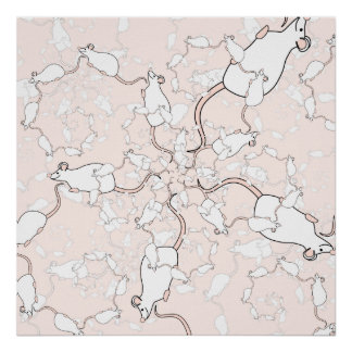 Cute White Mouse Pattern Mice on Pink Poster