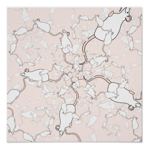 Cute White Mouse Pattern. Mice on Pink. Poster