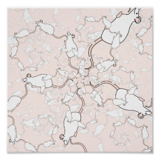 Cute White Mouse Pattern Mice on Pink Print