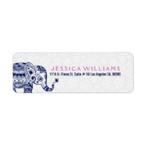Cute White & Navy Blue Floral Elephant Label