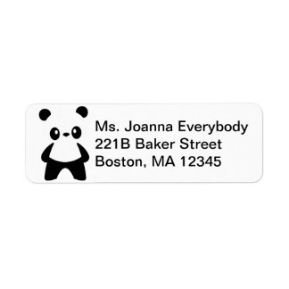 Cute White Negative Space Panda Label