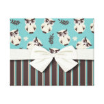cute white owl pattern and stripes canvas print