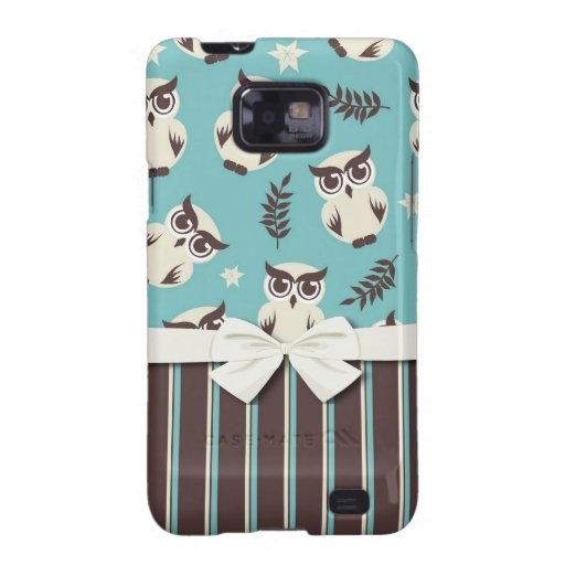 cute white owl pattern and stripes samsung galaxy s2 cover