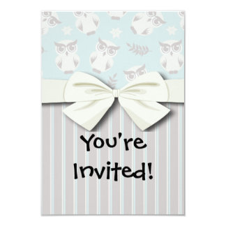 cute white owl pattern and stripes invitation