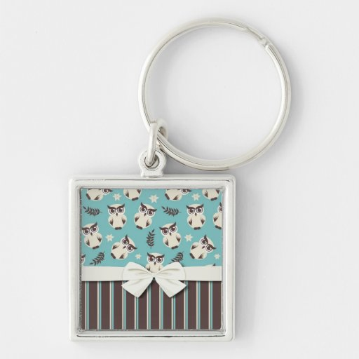 cute white owl pattern and stripes keychains