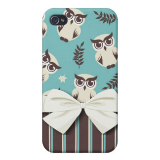 cute white owl pern and stripes iPhone 4 case