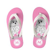 Cute White Owl Pink Girls Monogram Kid's Flip Flops at Zazzle