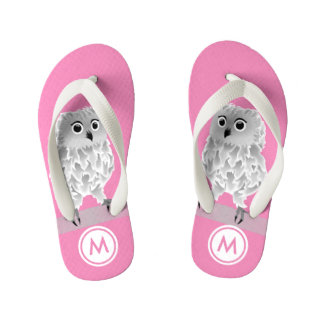 Cute White Owl Pink Girls Monogram Kid's Flip Flops