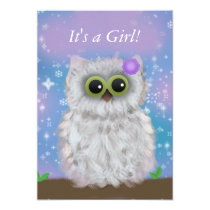 Cute White Owl Winter Girl Snowflake Shower Invite