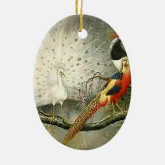 Cute White peacock couple pheasant partying Ceramic Ornament