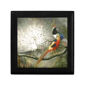 Cute White peacock couple pheasant partying Jewelry Box
